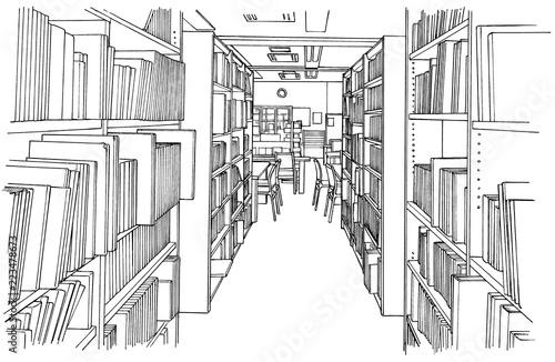 漫画風ペン画イラスト 学校(図書室) - 223478673