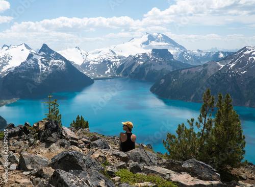 Fototapeta Mountain blue lake in British Columbia, Canada. Garibaldi Lake. Panorama Ridge obraz