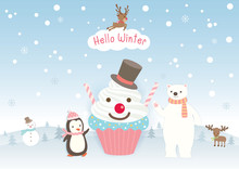 Illustration Vector Of Hello Winter Design With Cupcake Decorated To Snowman And Penguin, Polar Bear, Moose On Snow Background.