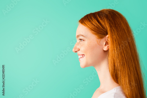 Profile side view photo of funny lady look in front of she, make - fototapety na wymiar
