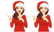 Surprised Woman Pointing Away In Santa Hat Isolated Vector Illustration