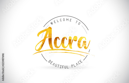 Accra Welcome To Word Text with Handwritten Font and Golden Texture Design Canvas Print