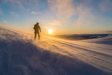 Silhouette Of Man Skiing