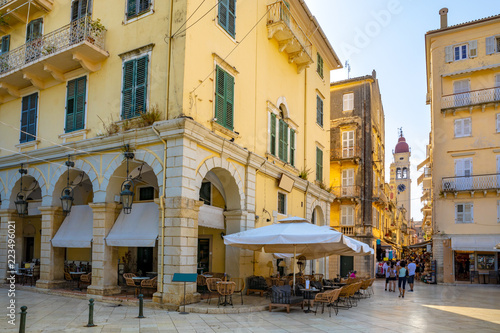 Fotografia, Obraz  Street and the bell tower of the church of Saint Spyridon in Corfu town, Greece