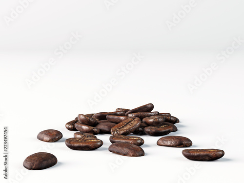 Fotografering  Spilled coffee grains on a white surface on a white background.