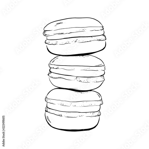 Fotomural Stack of macaron, macaroon almond cakes, sketch style vector illustration isolated on white background