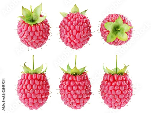 Foto  Collection set of fresh ripe raspberries isolated on white background