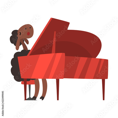 Photo Sheep playing the piano, cute musician animal cartoon character with musical ins