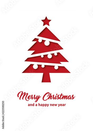 Fototapeta Grußkarte zu Weihnachten mit Merry Christmas und Happy new year obraz