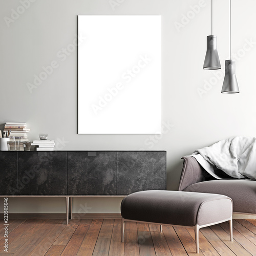 mock up poster in hipster interior background, scandinavian style Fototapete