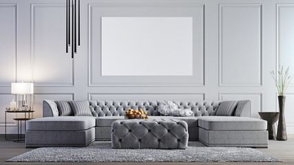 mock up poster in elegant living room in stylish apartment.