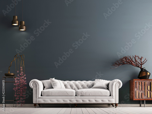 Fotografering empty wall in classical style interior with white sofa on grey background wall
