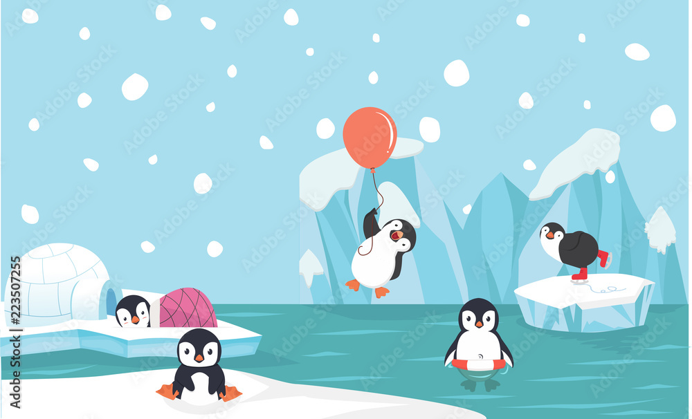 Fototapety, obrazy: Cute penguin characters  set with North pole  background