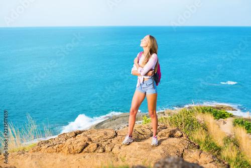 Fotografie, Obraz  portrait happy smiling blonde girl having fun