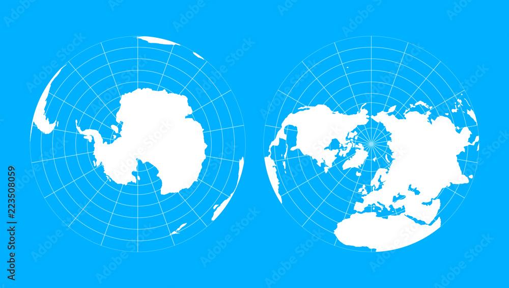 Fototapety, obrazy: Arctic and antarctic poles globe hemispheres. World map in blueprint style