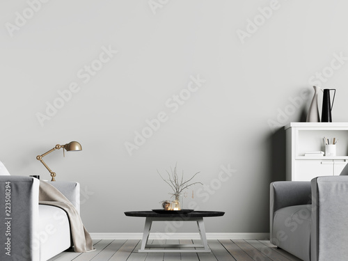 Obraz mock up poster on the wall in interior with emty wall background with armchair, scandinavian style - fototapety do salonu