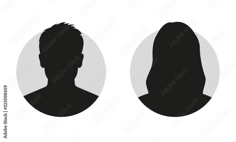 Fototapeta Male and female face silhouette or icon. Man and woman avatar profile. Unknown or anonymous person. Vector illustration.