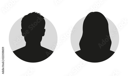 Fotomural  Male and female face silhouette or icon