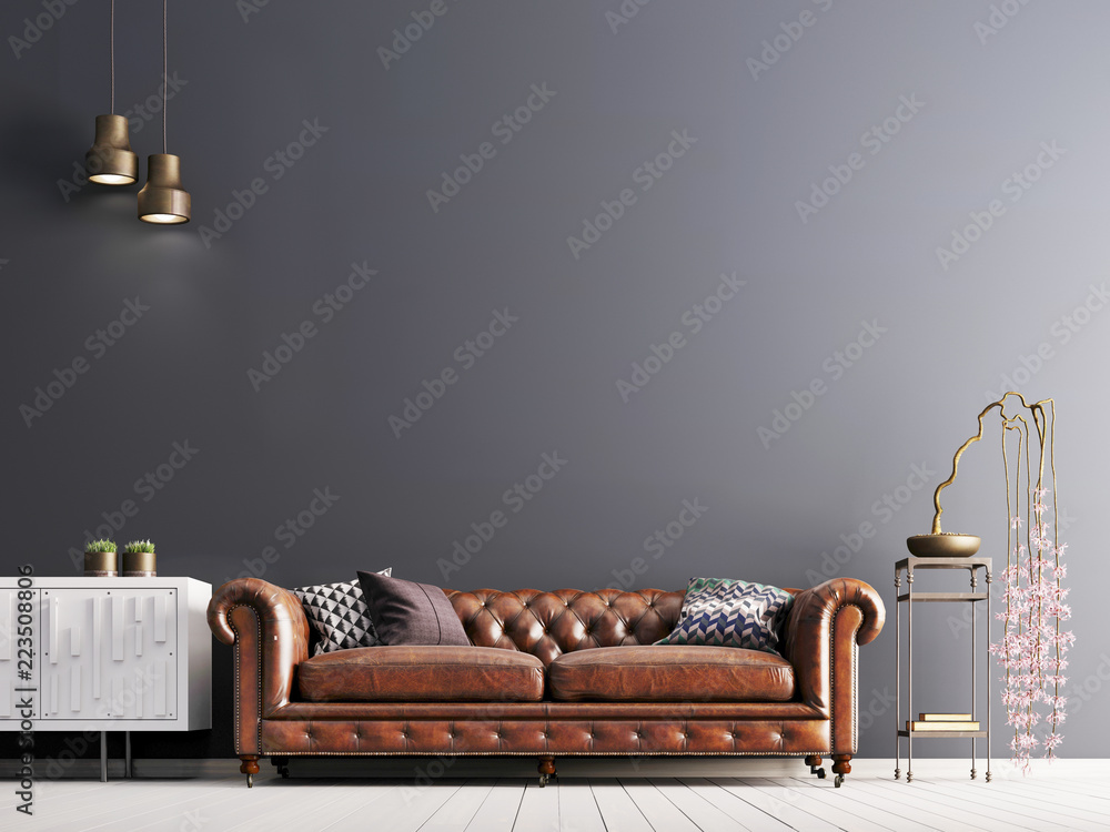 Fototapeta empty wall in classical style interior with leather sofa on grey background wall.