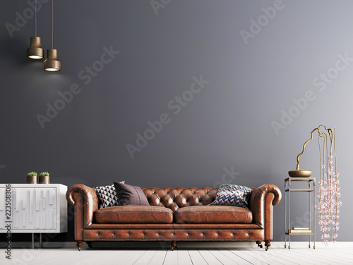 Tablou Canvas empty wall in classical style interior with leather sofa on grey background wall