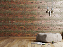 Loft Style Living Room With Beige Fabric Ottoman, Stainless Lamp And Magazine On Empty Brick Red Wall Background.