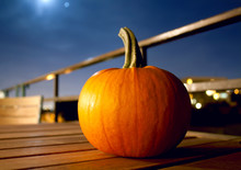 Pumpkin On Terrace At Moonlight