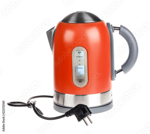 Red electric kettle isolated on white
