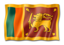 Sri Lanka Flag Isolated On White