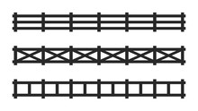 Black Picket Fence Symbols And Signs. Isolated Vector Illustration On White Background.