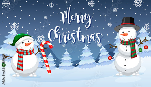 Poster Kids Merry Christmas snowman card