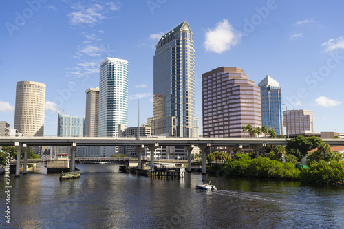 Downtwon City Skyline and Waterways of Tampa Florida