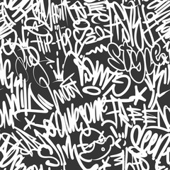 Vector graffiti tags seamless pattern, print design.