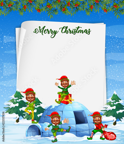 Keuken foto achterwand Kids Christmas elf on blank paper template