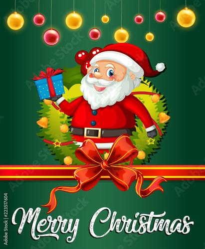 Keuken foto achterwand Kids Santa on christmas card template