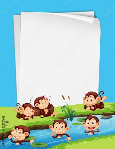 Keuken foto achterwand Kids Monkey and blank paper template