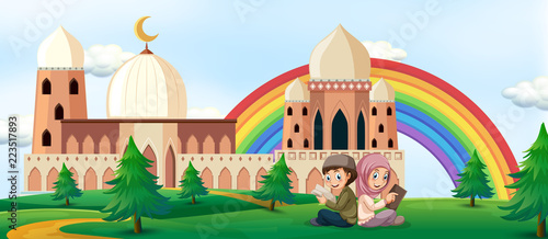Spoed Foto op Canvas Kids Boy and girl reading book with mosque background