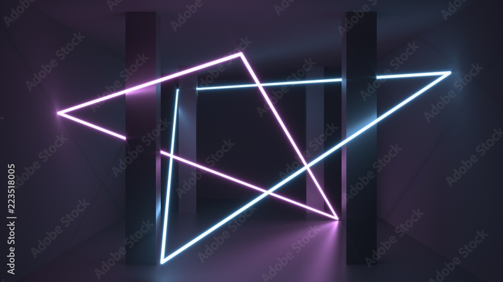 Fototapety, obrazy: 3d rendering. Futuristic tunnel with bright neon light. Artificial intelligence and virtual reality. Abstract digital background with blur and reflection. Programs, web, innovation concept