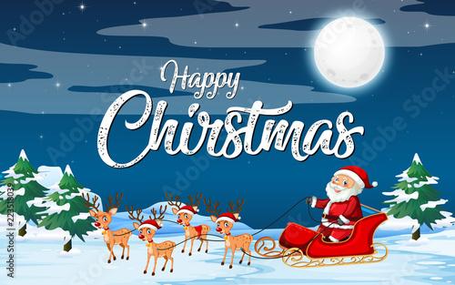 Keuken foto achterwand Kids Santa riding sleigh on snow