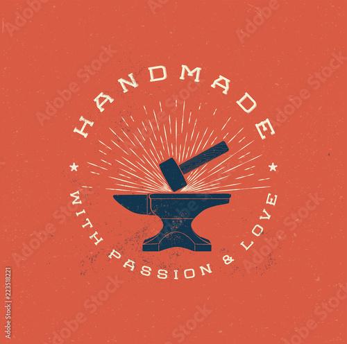 Fotografía Vintage Handmade Label Badge with Anvil and Hummer