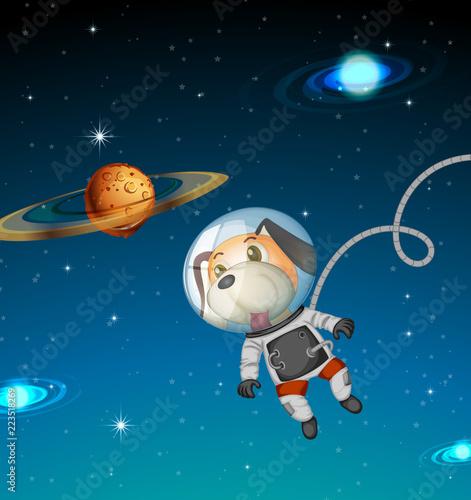 Keuken foto achterwand Kids Dog astronaut exploring space