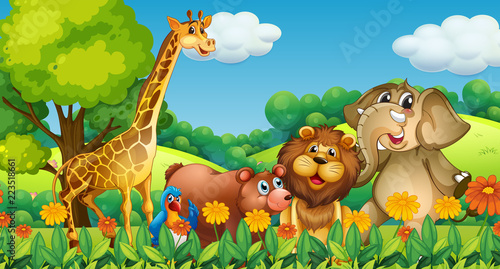 Spoed Foto op Canvas Kids Wild animals in the forest