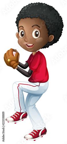 Keuken foto achterwand Kids An african baseball player