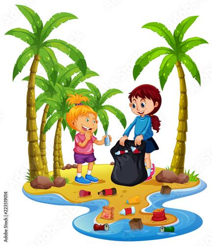 Keuken foto achterwand Kids Volunteer children collecting trash on island