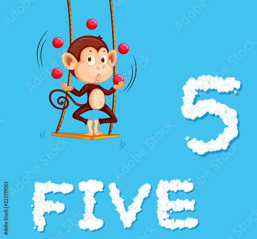 Staande foto Kids A monkey jugling five ball