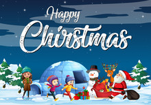 Christmas Theme Poster With Santa In The Snow