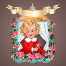 Young Princess At Window. Vintage Illustration