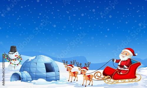 Keuken foto achterwand Kids Santa claus in winter background