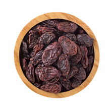 Raisins In Wooden Bowl Isolated On White