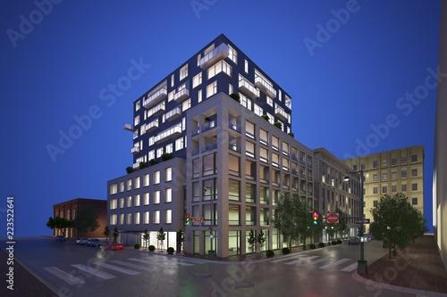 Fotografija 3d render of building exterior at night