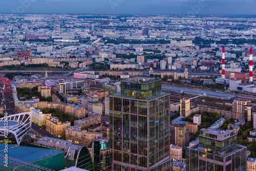 Fototapety, obrazy: Panoramic view of Moscow. Evening, sunset.